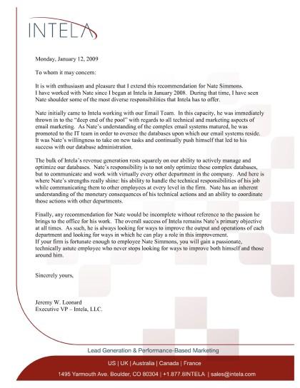 Letter of Recommendation: Jeremy W Leonard, Intela